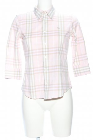 Burberry London Short Sleeve Shirt pink-white check pattern casual look