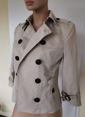Burberry London Manteau court beige clair-noir coton
