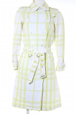Burberry London Trenchcoat blanc-jaune citron vert motif à carreaux