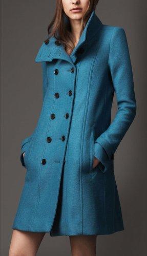 Burberry London Manteau en laine bleu pétrole