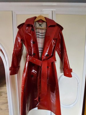 Burberry Leather Coat dark red