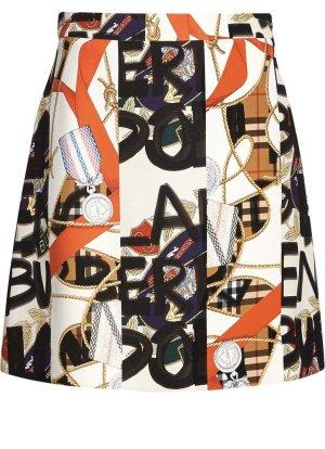 Burberry Miniskirt black-white silk