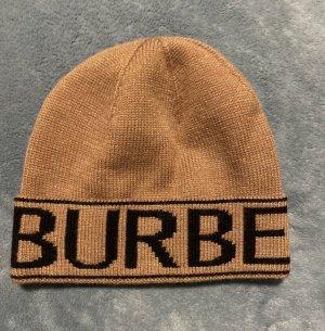 Burberry Mütze Beanie mit Intarsien-Logo Beige Black