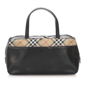 Burberry Nova Check Leather Handbag