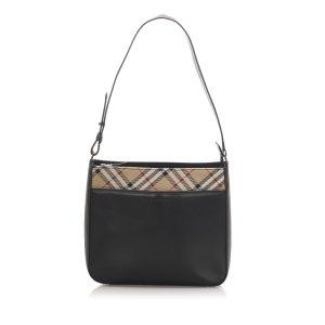 Burberry Nova Check Leather Shoulder Bag
