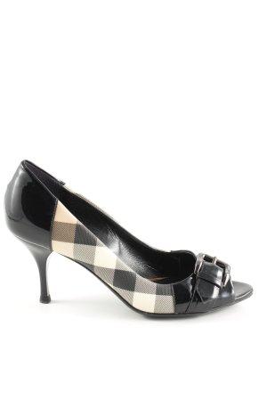 Burberry Peep Toe Pumps zwart-wolwit geruite print zakelijke stijl