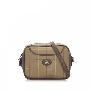 Burberry Plaid Canvas Shoulder Bag