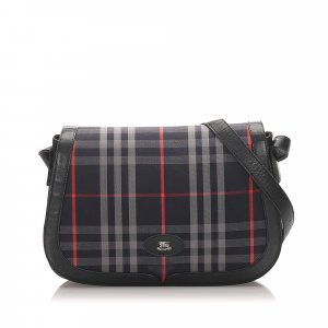Burberry Plaid Canvas Shoulder Bag
