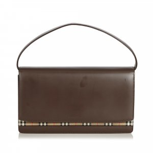 Burberry Plaid Leather Baguette
