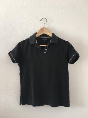 Burberry Polo Shirt seitliche paspeliertes small 36 gerade geschnitten mit Signatur Print Reiter schwarz rot beige Karo pique Oberteil top Shirt edel Designer zeitlos sportlich Golf Tennis