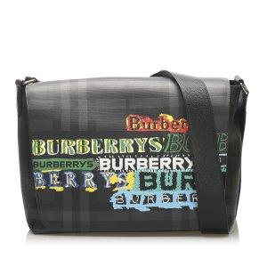 Burberry Printed Smoke Check Coated Canvas Crossbody