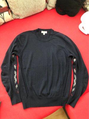 Burberry Wełniany sweter ciemnoniebieski Wełna