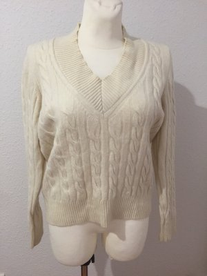 Burberry V-Neck Sweater natural white