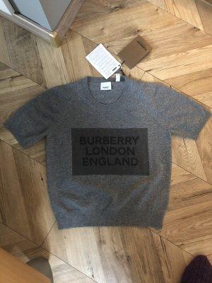 Burberry Sweater met korte mouwen grijs Kasjmier