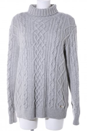 Burberry Turtleneck Sweater light grey cable stitch casual look