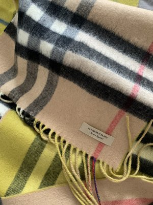 Burberry Fringed Scarf camel-lime yellow cashmere