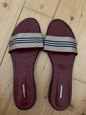Burberry Heel Pantolettes oatmeal-bordeaux