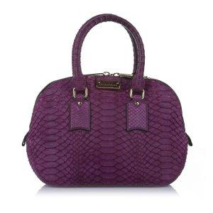 Burberry Satchel purple reptile leather