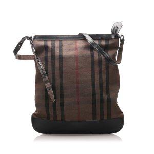 Burberry Smoke Check Canvas Shoulder Bag