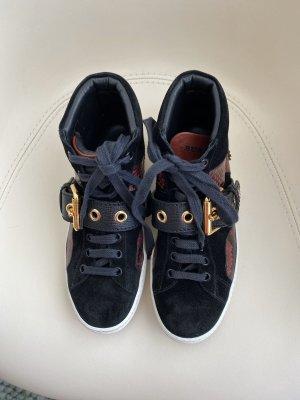Burberry Sneaker alta nero-bordeaux