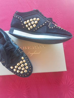 Burberry Lace-Up Sneaker black-gold-colored leather