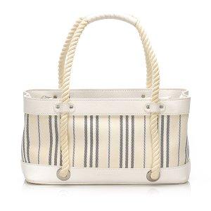 Burberry Stripes Canvas Handbag