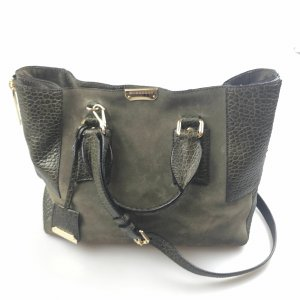 Burberry Satchel dark green suede