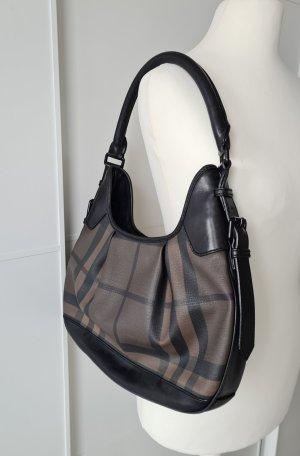 BURBERRY Tasche, London-Check-Muster, schwarz, graubraun, Baguette-Tasche