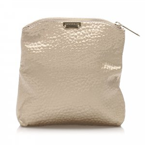 Burberry Textured Fabric Fold Over Clutch Bag