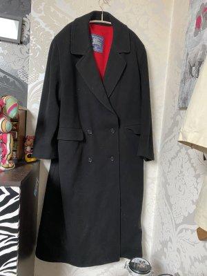 Burberry Wollmantel schwarz lang Innenfutter rot Gr 44