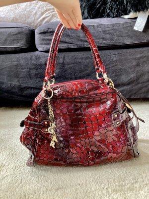 Burglar Lederhandtasche rot-schwarz -NEU