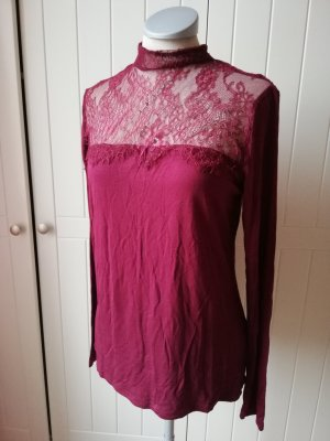 burgund bordeaux rot Top Oberteil Shirt Gr. 40 M neu Langarmbluse Langarmshirt