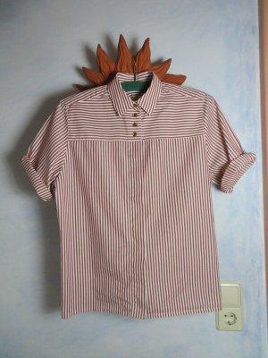 True Vintage Camisa folclórica blanco-burdeos Algodón