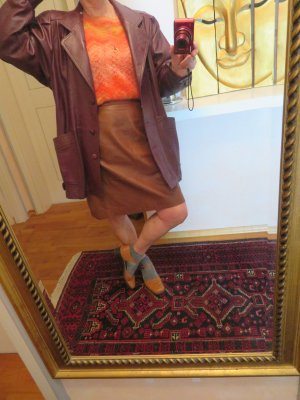 Vintage Leather Blazer bordeaux