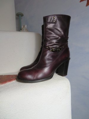Alberto Fermani Zipper Booties bordeaux leather