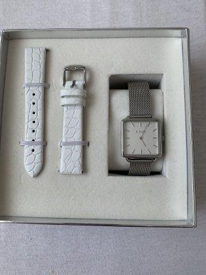 Burker Montre avec bracelet en cuir argenté-blanc