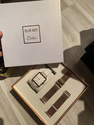 Burker Reloj con pulsera de cuero blanco-color rosa dorado
