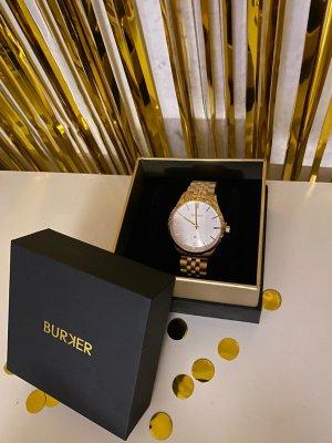 Burker Montre avec bracelet métallique doré