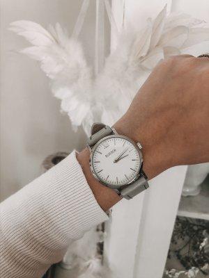 Horloge met lederen riempje zilver-grijs