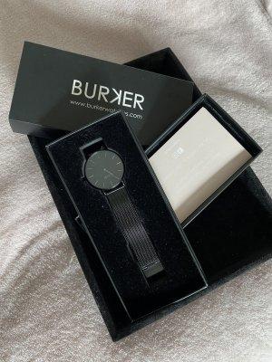 Burker Montre avec bracelet métallique noir