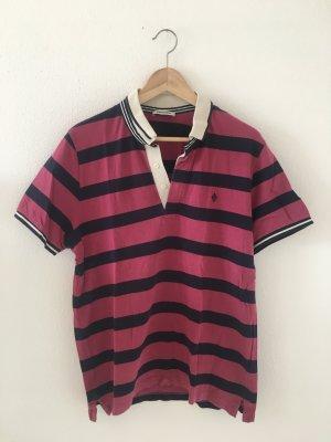 Burlington XL 42 Polokragen Polo Shirt Designer Marke hochwertig Oberteil Top Sommer fuchsia pink dunkelblau Navy beige gestreift streifen segeln Golf reiten lässig gerade weit