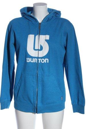 Burton Kapuzensweatshirt blau-weiß Schriftzug gedruckt Casual-Look