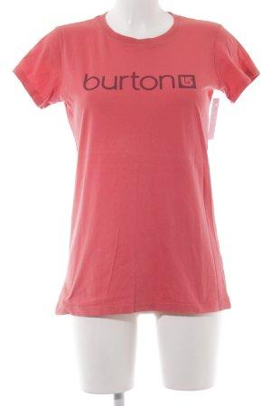 Burton T-Shirt hellrot Schriftzug gedruckt Casual-Look