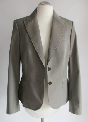 Business Blazer Jacke Esprit Größe M 40 Grau Taupe Greige Büro Klassisch Mini Karo Elegant