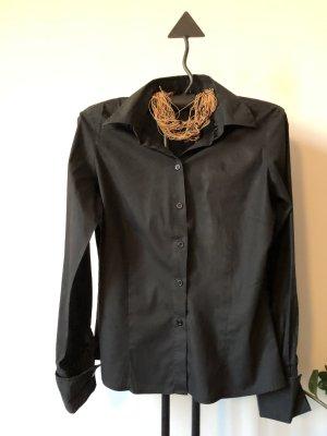 Business Bluse / Hemdbluse WE / schwarz / tailliert / Manschetten / Gr. 38 - NEU, nie getragen