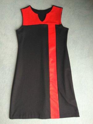 C&A Vestido línea A negro-rojo