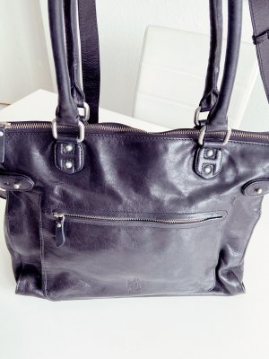 Laptop bag black-silver-colored leather