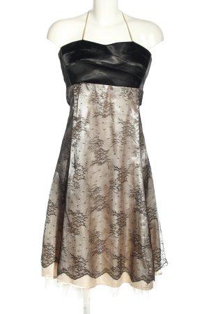 Sukienka gorsetowa czarny-w kolorze białej wełny Wzór w kwiaty Z połyskiem