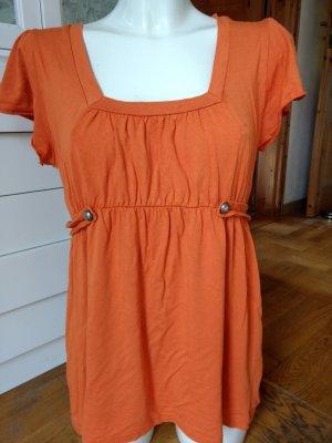 Koszula z odcięciem pod biustem pomarańczowy-ciemny pomarańcz