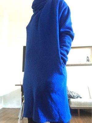 Butterflysoulfire: Blaues Woll-Kleid mit Rollkragen/ Wasserfallkragen, Taschen, Gr. M/ 36/ 38
